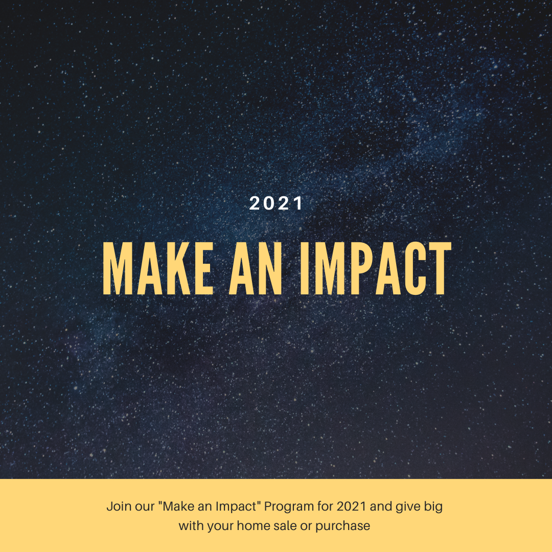 "black image with gold letters ""Make an Impact"""